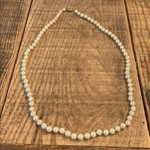 """Jewelry - 28"""" vintage pearl necklace with gold clasp"""